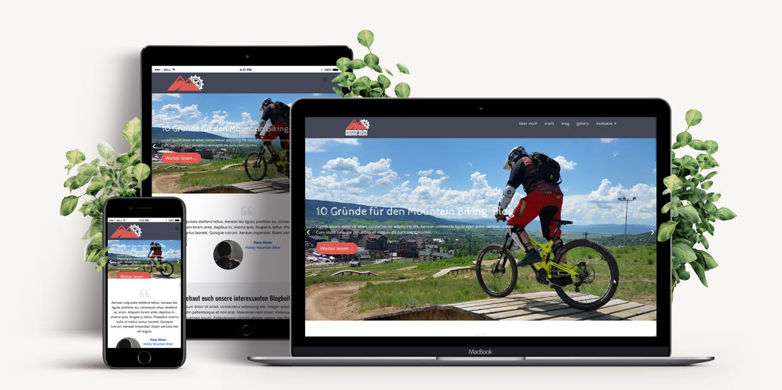 Responsive Webdesign - Website Vorlage Mountain Bike Blog